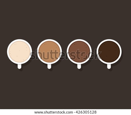 Set of coffee cups with different milk content, from whole milk to black coffee. Latte, cappuccino and hot chocolate. Minimalist cafe poster. - stock vector