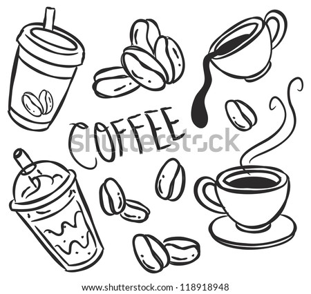 set of coffee doodle - stock vector