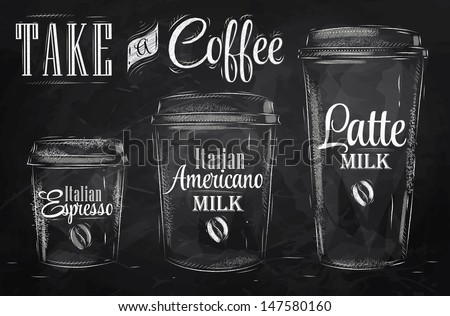 Set of Coffee drinking cup sizes in vintage style stylized drawing with chalk on blackboard. - stock vector