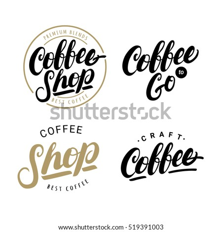 set coffee hand written lettering logos stock vector royalty free