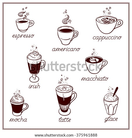 Set of Coffee kind menu drinking cup. Coffee kinds, vector hand drawing illustration isolated on white background. Espresso, cappuccino, glace, latte, irish, mocha. - stock vector