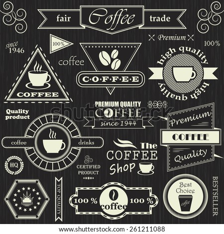 Set of coffee labels, badges and decorative elements. Retro style. Coffee vintage collection     - stock vector