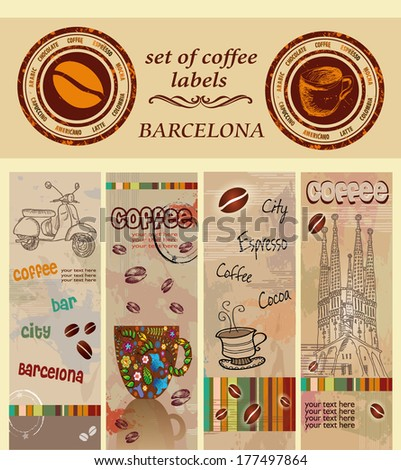 set of coffee labels, Barcelona - stock vector