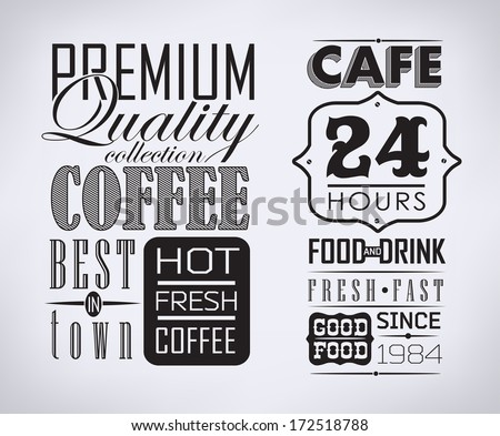 set of coffee labels on chalkboard - stock vector