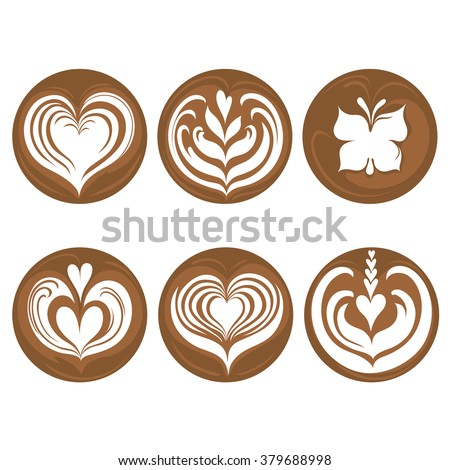 Set of coffee latte art - stock vector