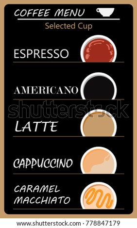 Set Of Coffee Menu With A Cups Drinks Card And Wallpaper