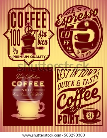 set of coffee patterns with inscriptions in retro style