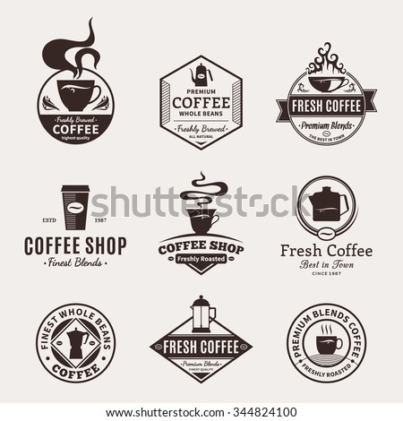 Set of coffee shop logos. Coffee labels with sample text. Mugs, beans and coffee equipment icons for coffeehouse, espresso bar, restaurant, packaging and advertising. Vector logotype design. - stock vector