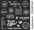 Set of coffee shop sketches and text symbols on a chalkboard background - stock photo