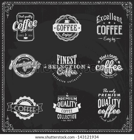 Set of coffee shop sketches and text symbols on a chalkboard Chalk lettering - stock vector