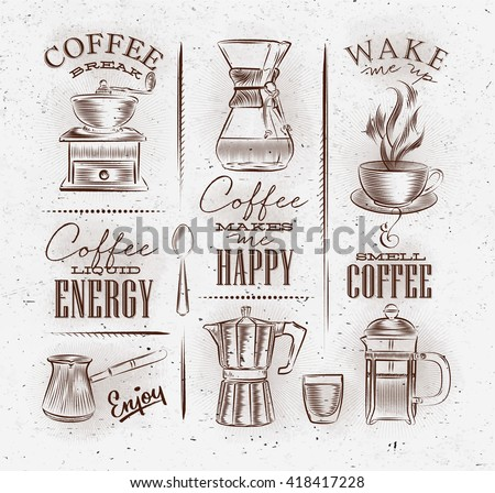 Set of coffee symbols lettering drawing with brown in vintage style on dirty paper background - stock vector