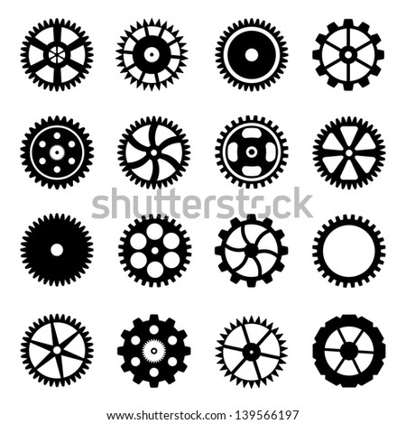 Set of cogwheels (gear wheels) isolated on white background. Vector illustration.