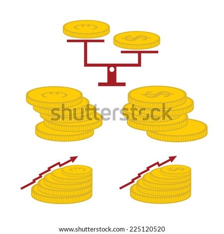set of coins and finance elements - stock vector