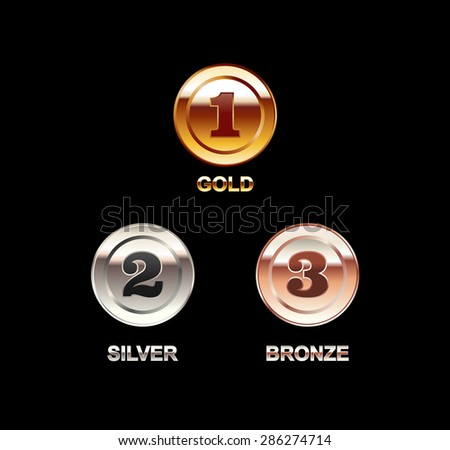 Set of coins illustration. Coin with a number. Gold coin, silver coin, bronze coin. Polish coins. Bright coins. - stock vector