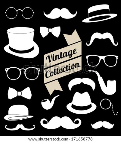 set of collection vintage fashion elements. vector illustration  - stock vector