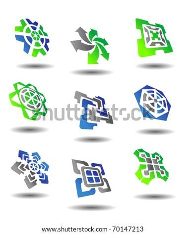 Set of color abstract symbols for design - also as emblem or logo template. Jpeg version also available in gallery - stock vector