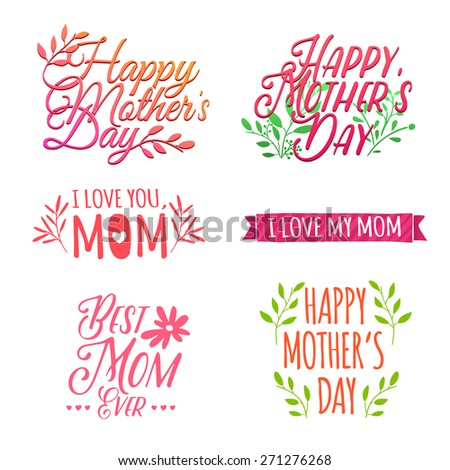 Set of color and volume of simple retro logos, badges, labels, signs to celebrate Mother's Day. Floral elements, pastel colors. Vector. - stock vector