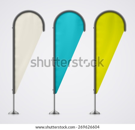 Set of color banner flags, eps 10 - stock vector