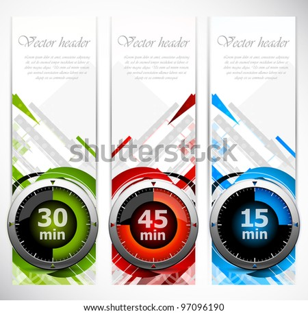 Set of color banners with three timers - stock vector