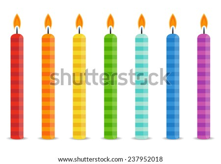Set of color Birthday candles in bright colors - stock vector