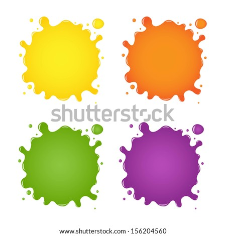 Set Of Color Blots, With Gradient Mesh, Vector Illustration - stock vector