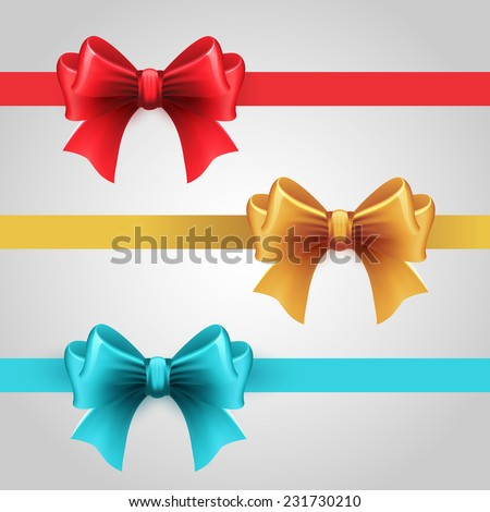 Set of color bows. red. blue and gold color - stock vector