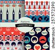 set of color british hipster patterns - stock vector