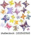 Set of Color Butterflies, Vector Version - stock