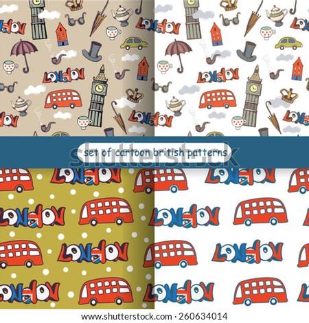 set of color cartoon London patterns - stock vector