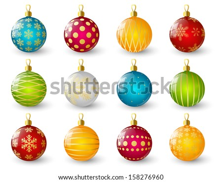Set of color Christmas balls - stock vector