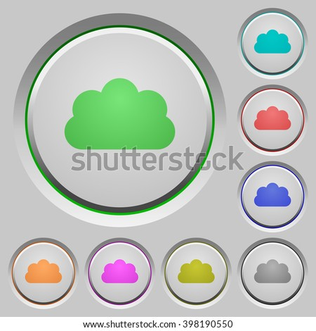 Set of color cloud sunk push buttons. - stock vector