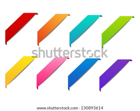 Set of color corner ribbons - stock vector