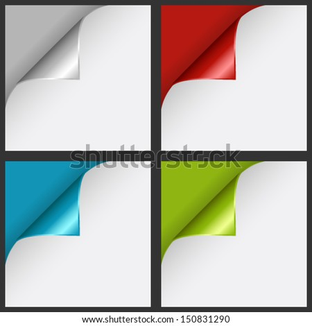 Set of color curled corners - stock vector