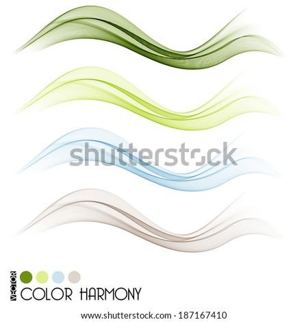 Set of color curve lines design element. Vector illustration - stock vector