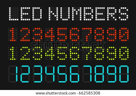 Set of color digital circle, square led numbers