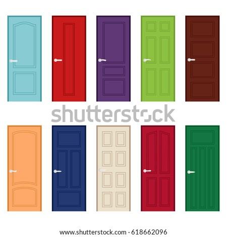 Set of color door icons vector illustration  sc 1 st  Shutterstock & Set Color Door Icons Vector Illustration Stock Photo (Photo Vector ...
