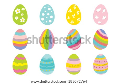Set of 12 color Easter eggs. - stock vector