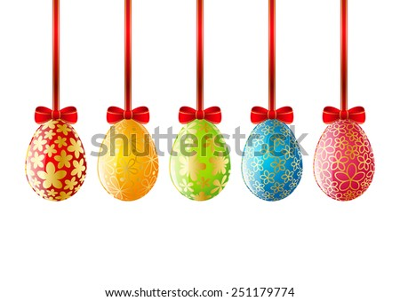 Set of color Easter eggs - stock vector