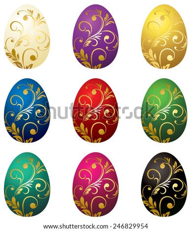Set of color easter eggs with gold ornaments - stock vector