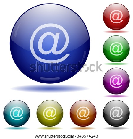 Set of color email glass sphere buttons with shadows. Arranged layer structure.