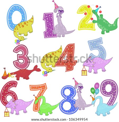 Set of color figures with dinosaurs - stock vector