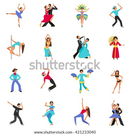 Set of color flat icons with figure people dancing vector illustration - stock vector
