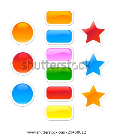 Set of color glass buttons.