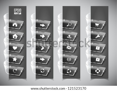 set of color glass ribbons. Vector illustration - stock vector