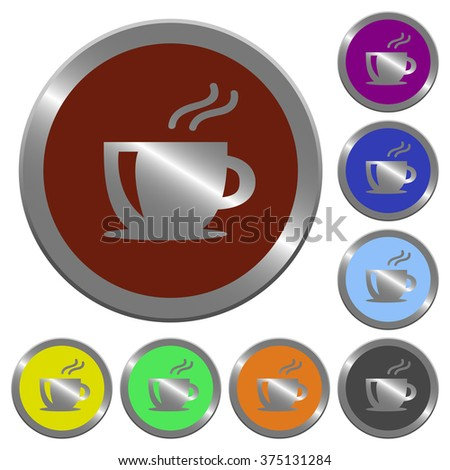 Set of color glossy coin-like cappuccino buttons.