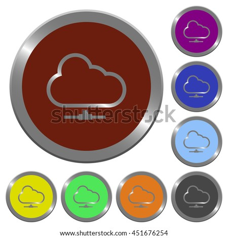 Set of color glossy coin-like cloud network buttons. - stock vector