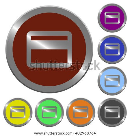 Set of color glossy coin-like credit card buttons.