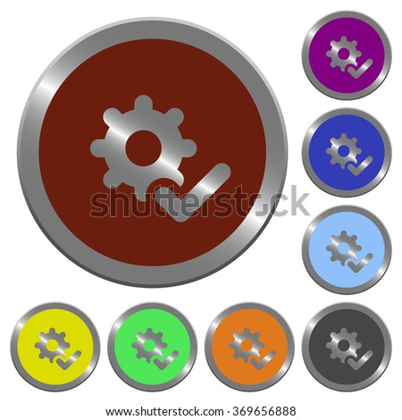 Set of color glossy coin-like settings ok buttons. - stock vector