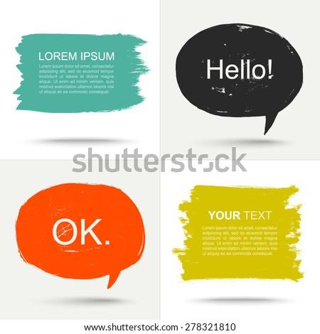 Set of color grunge speak bubbles. - stock vector