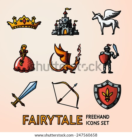 Set of color hand drawn fairytale (game) icons with - sword, bow, shield, knight, dragon, princess, crown, unicorn, castle. Vector - stock vector